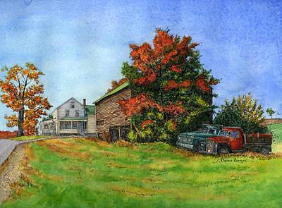Elwood Farmhouse With Barn Poster by Elaine Farmer