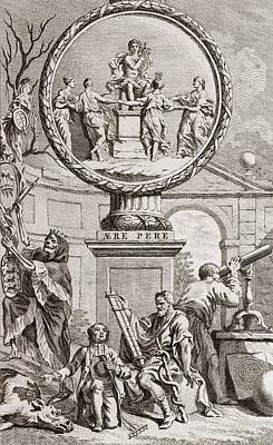 Engraving Depicting Discord And Harmony Poster by Middle Temple Library