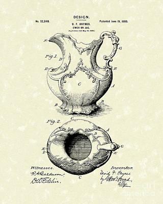 Ewer Or Jug Design 1900 Patent Art Poster by Prior Art Design