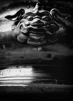 Face On A Incense Pot Taken In The Guan Di Temple In Ku Poster by Zoe Ferrie