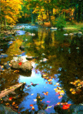 Fall Color At The River Poster by Suni Roveto