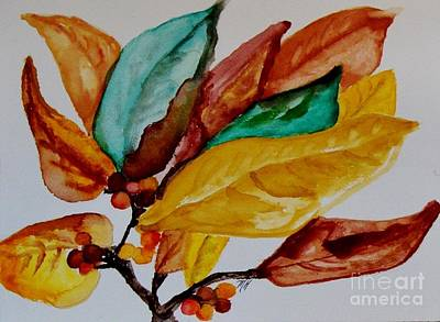 Fall Painted Leaves And Berries Poster by Marsha Heiken