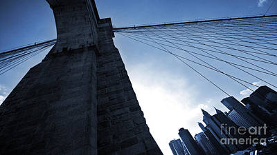 Falling Lines - Brooklyn Bridge Poster by Thomas Splietker