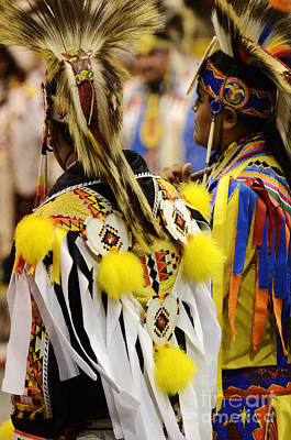 Pow Wow Fancy Dancer Duo Poster by Bob Christopher
