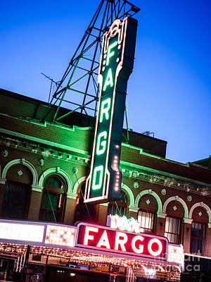 Fargo Nd Theatre Marquee At Night Photo Poster by Paul Velgos
