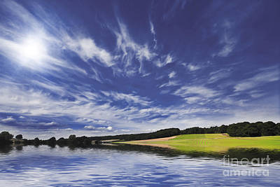 Farmland And Lake Poster by Simon Bratt Photography LRPS