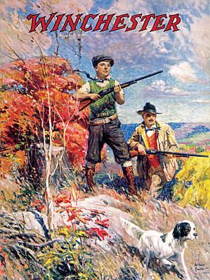 Father And Son With Bird Dog Poster by Arthur S Fulton