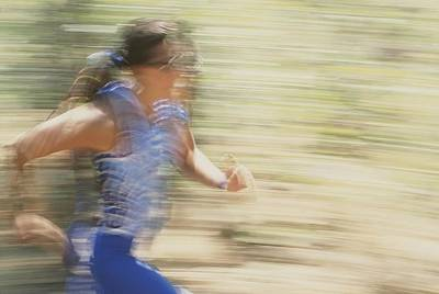 Female Athlete Running Poster by Dugald Bremner Studio