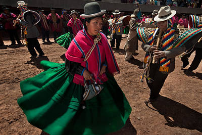 Festival Of Dance And Traditional Music. Population Of Tiwanaku. Republic Of Bolivia. Poster by Eric Bauer