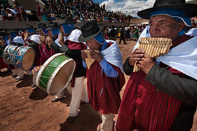 Festival Of Traditional Dances. Population Of Tiwanaku. Republic Of Bolivia. Poster by Eric Bauer