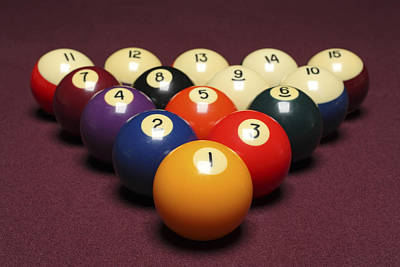 Fifteen Billiard Balls Arranged In Triangle On Pool Table Poster by Nathan Allred