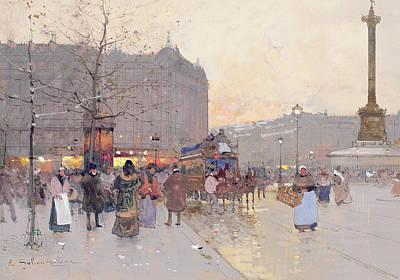 Figures In The Place De La Bastille Poster by Eugene Galien-Laloue
