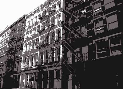 Fire Escapes Bw3 Poster by Scott Kelley