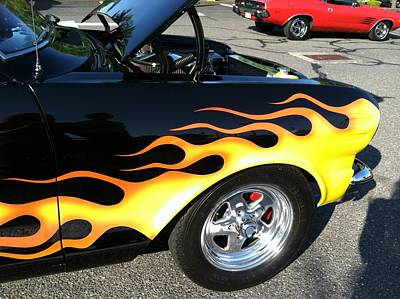Flaming Fenders Poster by Tammy Rekito