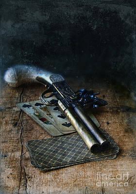 Flint Lock Pistol And Playing Cards Poster by Jill Battaglia