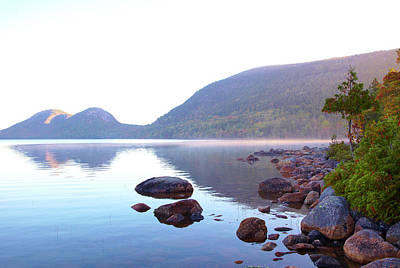 Fog Lifting Over Jordan Pond Poster by Thomas Northcut