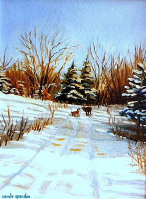 Footpath Through The Pines Quebec Winter Landscape Poster by Carole Spandau