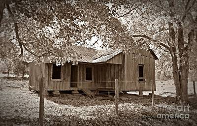 Forgotten Homestead In Sepia Poster by Laurinda Bowling