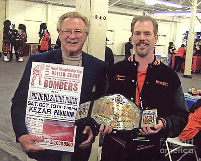 Former World Heavyweight Champion Nick Bockwinkel And Myself Poster by Jim Fitzpatrick