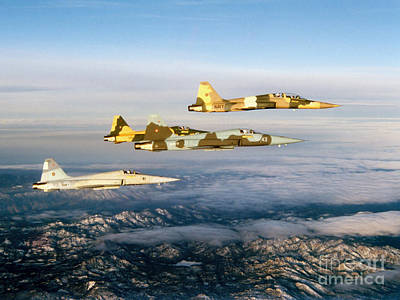 Four F-5 Tiger IIs Fly Above Southern Poster by Dave Baranek