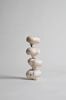 Four Mushrooms Arranged In A Stack, Studio Shot Poster by Halfdark