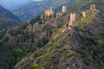 France, Languedoc, Lastours, Cathar Castles Poster by Shaun Egan