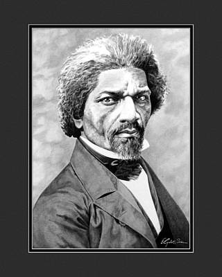 Frederick Douglass With Digital Mat Poster by Elizabeth Scism