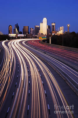 Freeway Traffic At Dusk On I-30 Poster by Jeremy Woodhouse