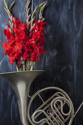 French Horn With Gladiolus Poster by Garry Gay