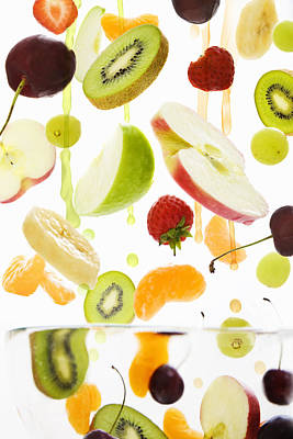 Fresh Mixed Fruit With Apple & Orange Juice Poster by Andrew Bret Wallis