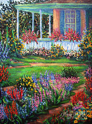 Front Porch And Flower Gardens Poster by Glenna McRae
