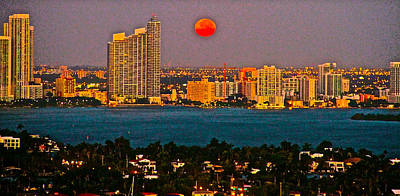Full Moon/sun Rise Over Miami Poster by Ronald  Bell