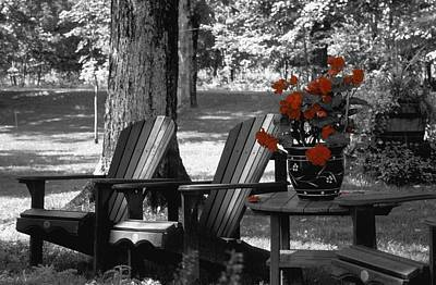 Garden Chairs With Red Flowers In A Pot Poster by David Chapman