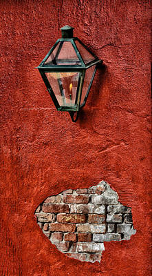 Gaslight On A Red Wall Poster by Bill Cannon