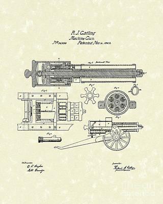 Gatling Machine Gun 1862 Patent Art Poster by Prior Art Design