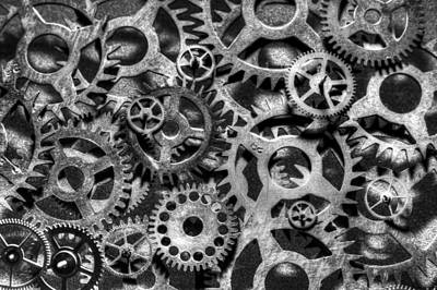 Gears Of Time Black And White Poster by David Paul Murray