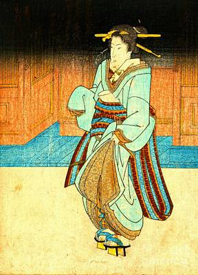 Geisha Strolling 1830 Poster by Padre Art