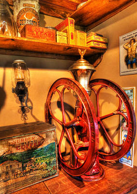 General Store Coffee Mill - Nostalgia - Vintage Poster by Lee Dos Santos
