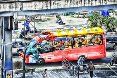 Genoa Sightseeing City Bus Poster by Enrico Pelos