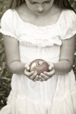 Girl And Apple Poster by Joana Kruse