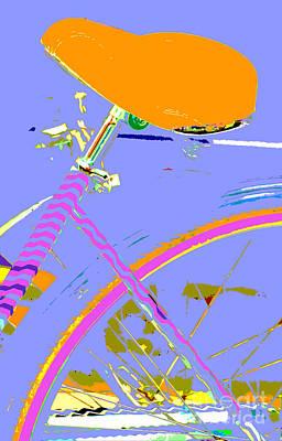 Girl Bicycle Pop Art Poster by ArtyZen Studios