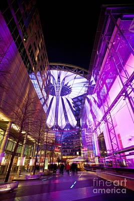 Glowing Sony Center Poster by Mike Reid