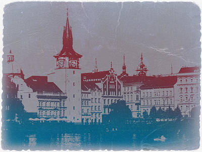 Golden Prague Poster by Naxart Studio