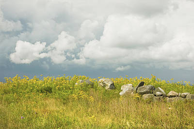 Goldenrod And Stone Wall In Farm Field Sky Maine Poster by Keith Webber Jr