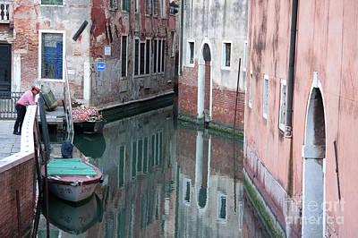 Gondolier Overlooking Rio De S. Anzolo Venice Italy Poster by Julia Hiebaum