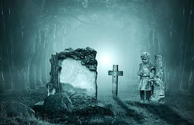 Graves In A Forest Poster by Jaroslaw Grudzinski