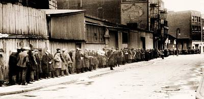 Great Depression Breadline At Mccauley Poster by Everett