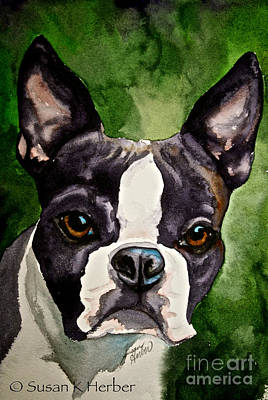 Green Black And White Poster by Susan Herber