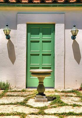 Green Door And Birdbath Poster by Steven Ainsworth