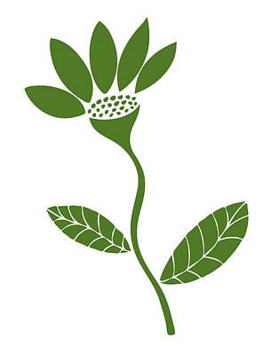 Green Flower Poster by Frank Tschakert
